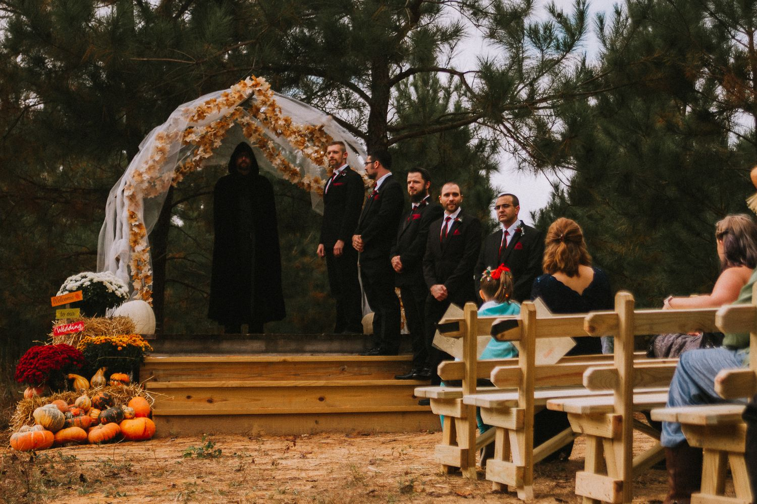 intimate halloween wedding in zebulon