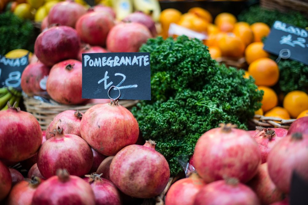 Pomegranate display at Borough Market, London