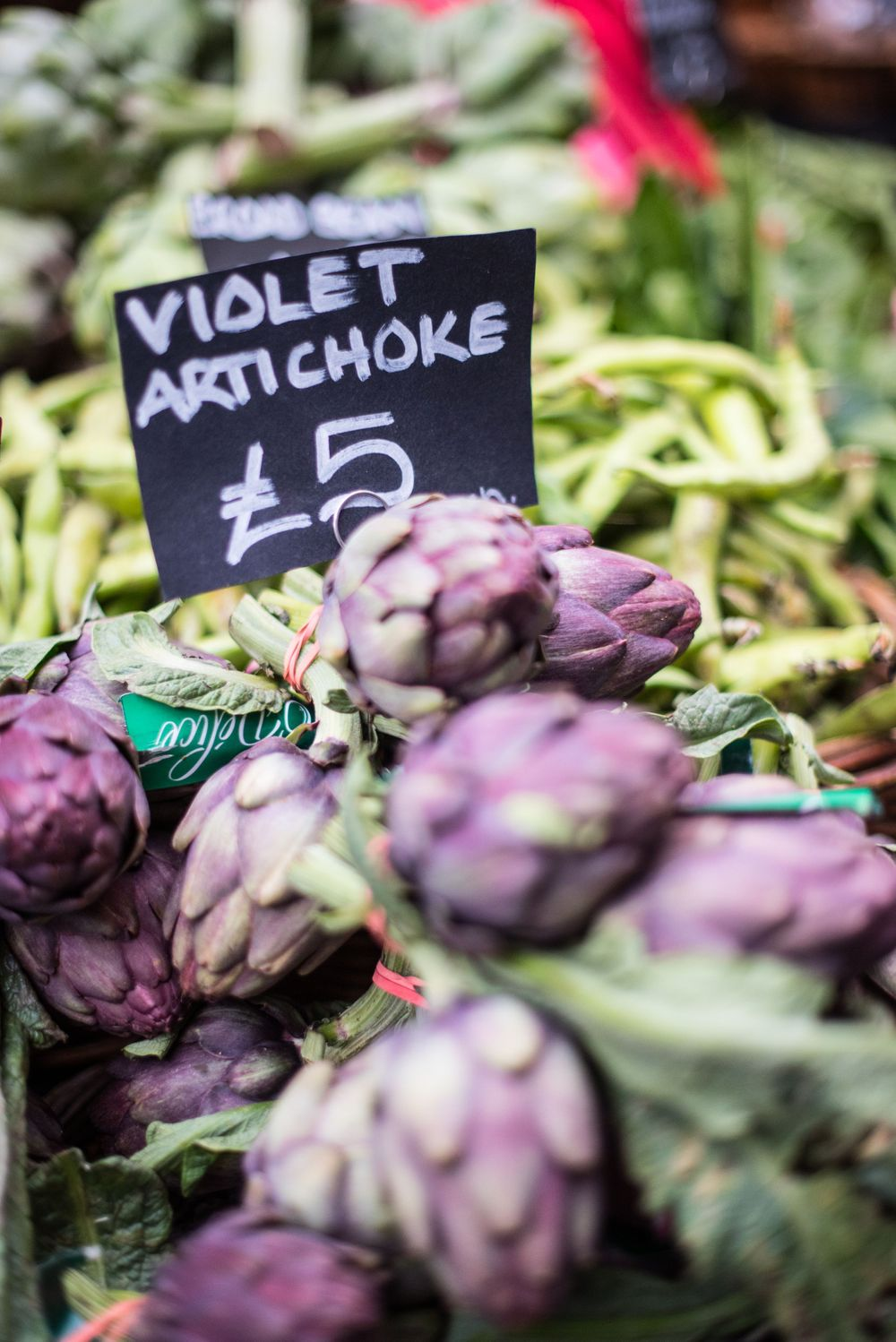 Violet artichoke display at Borough Market, London