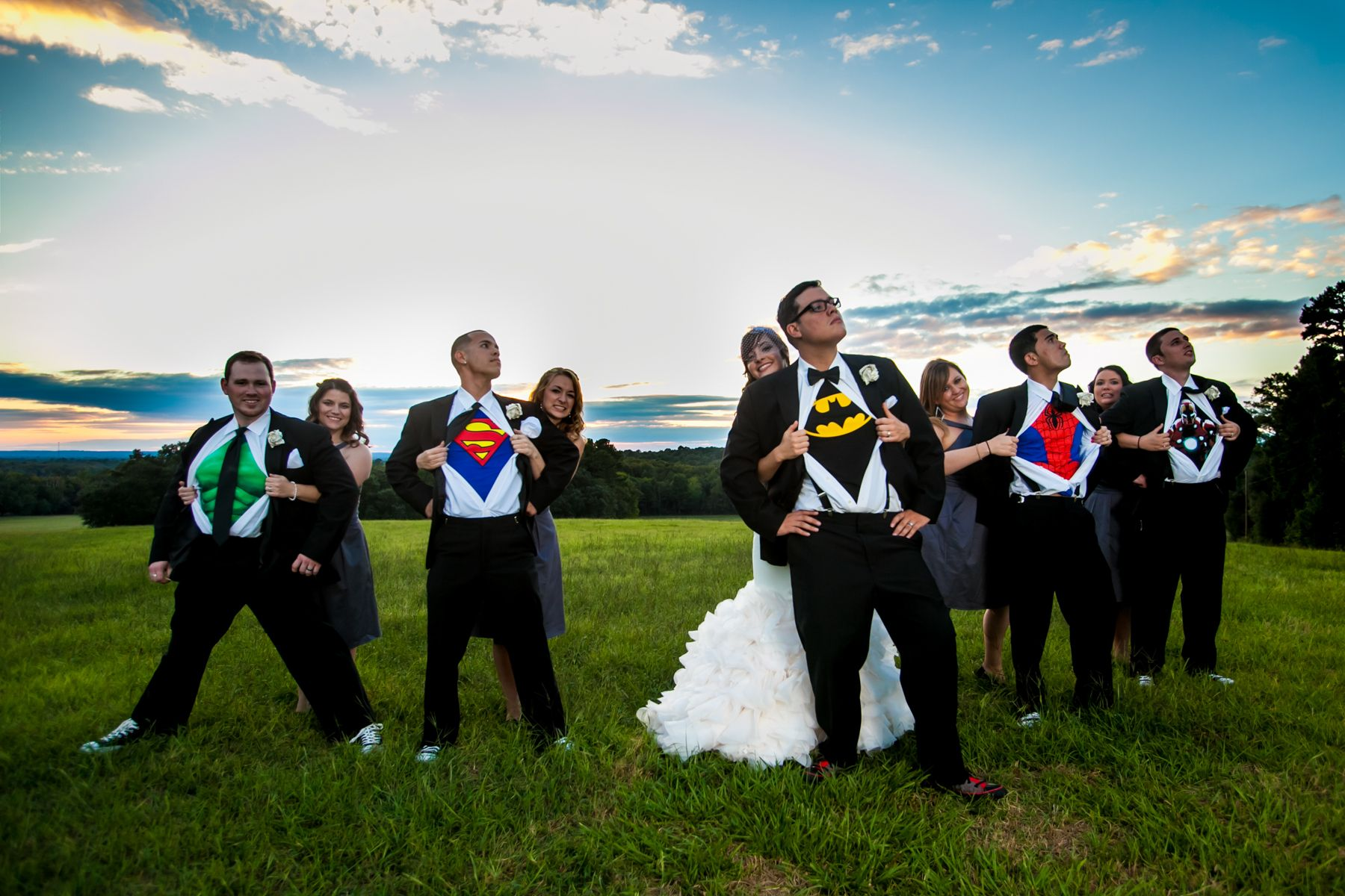 Groomsmen with superhero undershirts with bride photo by Columbia, SC, wedding photographer Jeff Blake