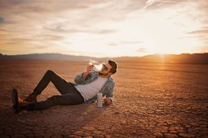 Musician Will Finley Album Cover portrait session in Dry Lake Bed
