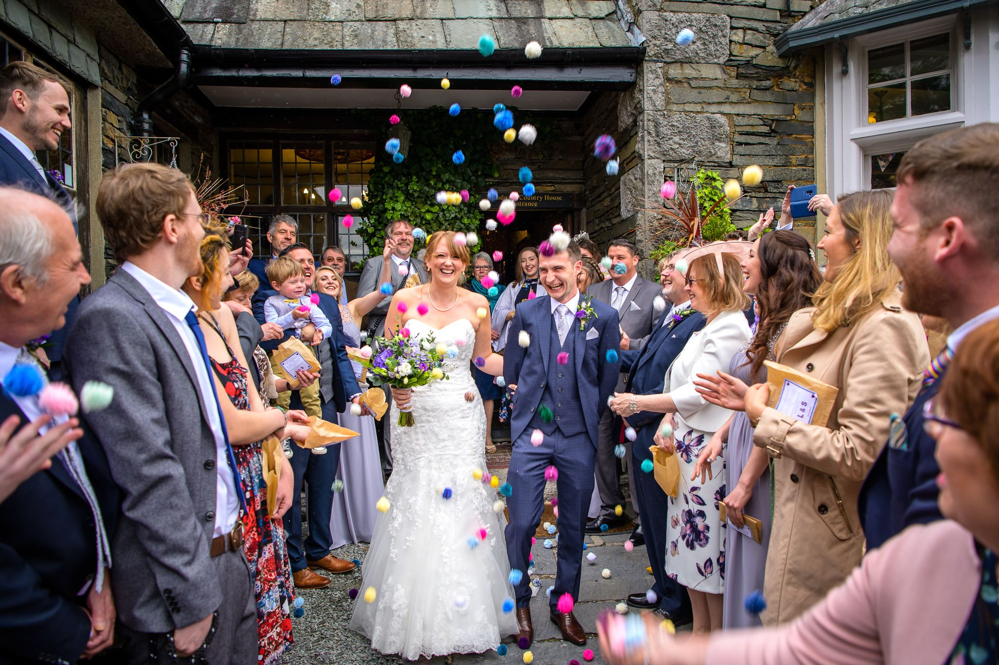 Pom pom confetti shower at Broadoaks Hotel near Windermere