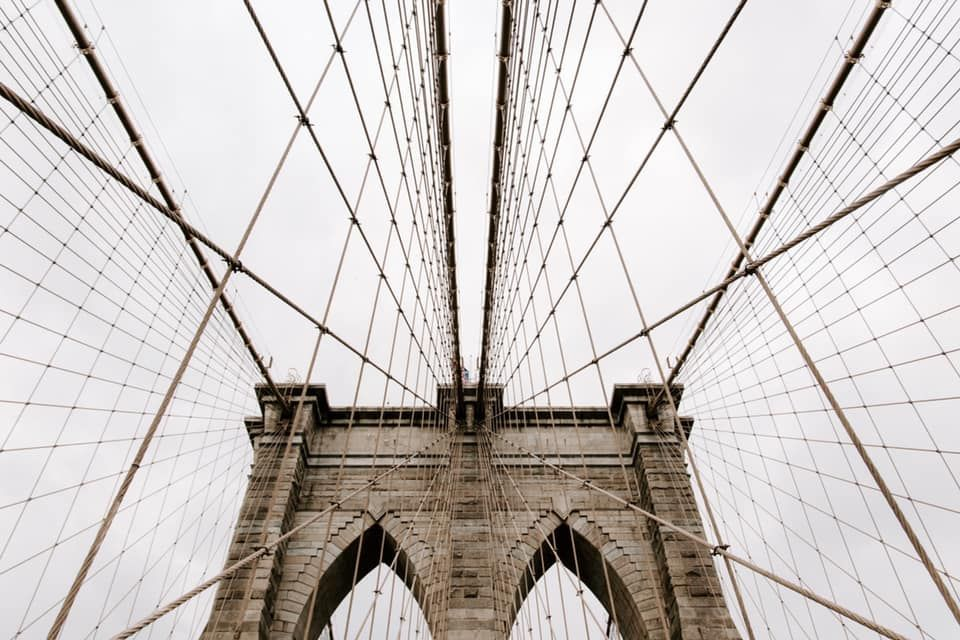 sky view of the Brooklyn City Bridge in New York City