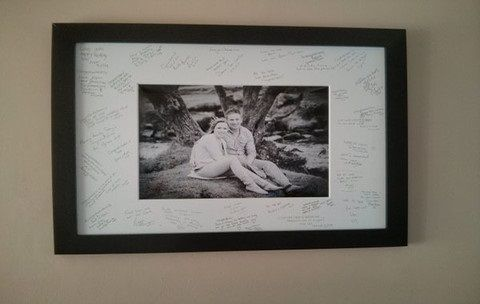 wedding guest signing frame hanging on wall