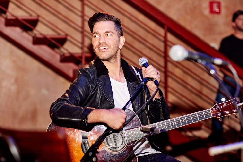 Andy Grammer pulls away from the mic at Only In Nashville. Photo by Joel Alexander