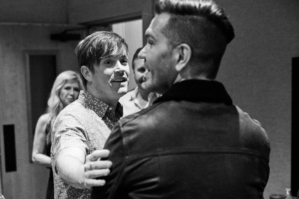 Andy Grammer and Dave Barnes share an exchange of humor backstage in Nashville, TN. Photo by Joel Alexander