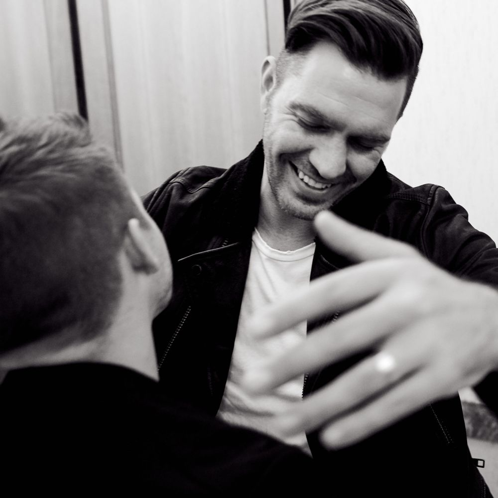 Andy Grammer giving Hunter Hayes a hug back stage in Nashville, TN. Photo by Joel Alexander