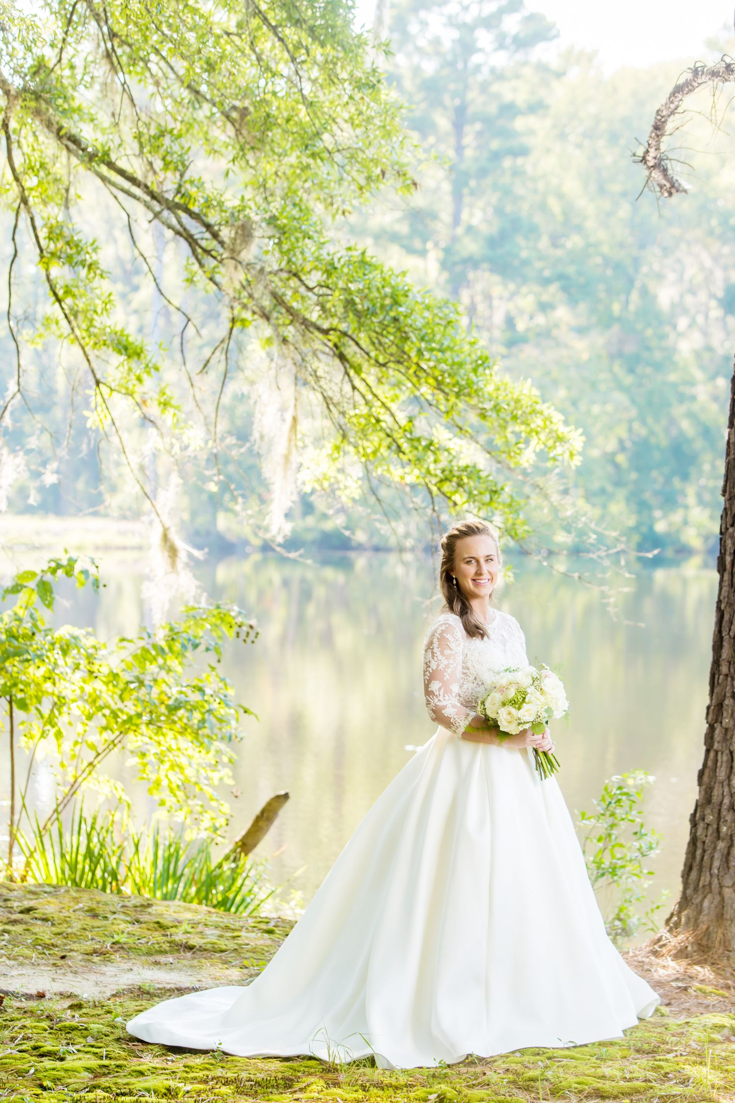 Millstone at Adams Pond bridal portrait by Columbia, SC, Wedding Photographer Jeff Blake