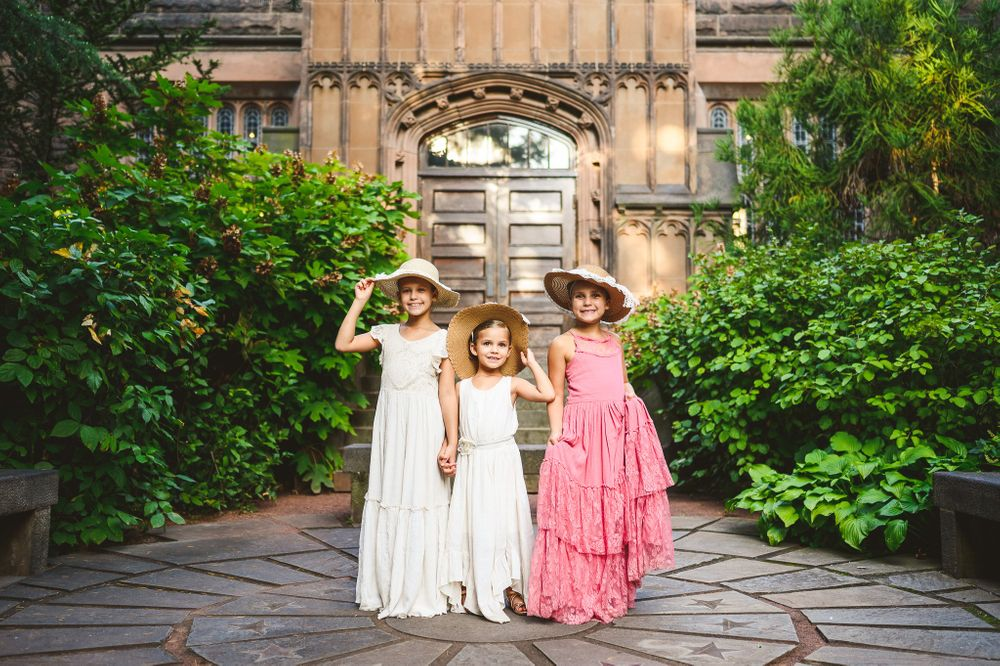 sisters with dress and sun hats at Princeton University