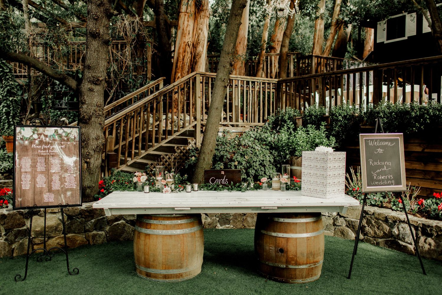 welcome table setup design at calamigos ranch malibu