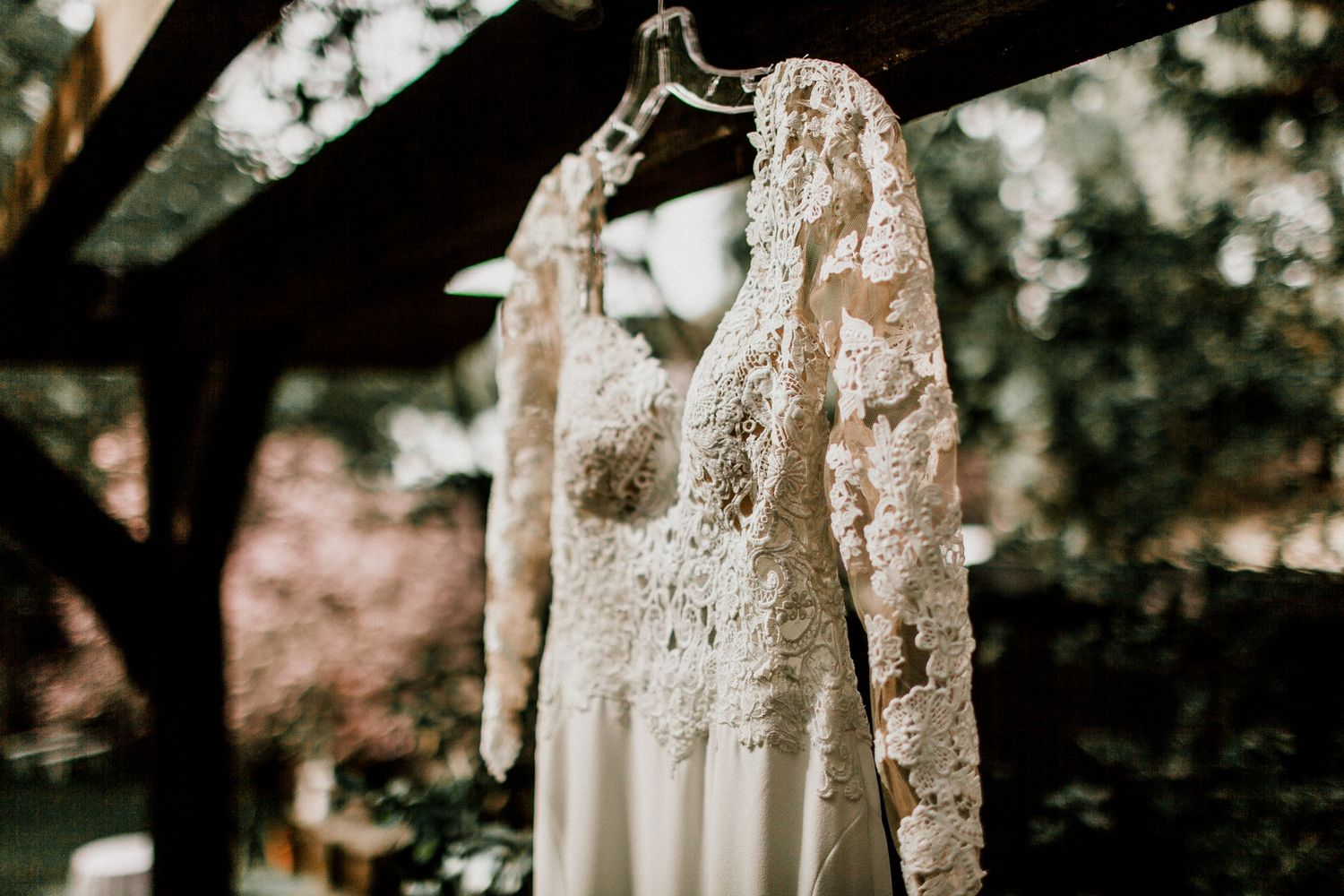 close side angle of wedding dress hanging