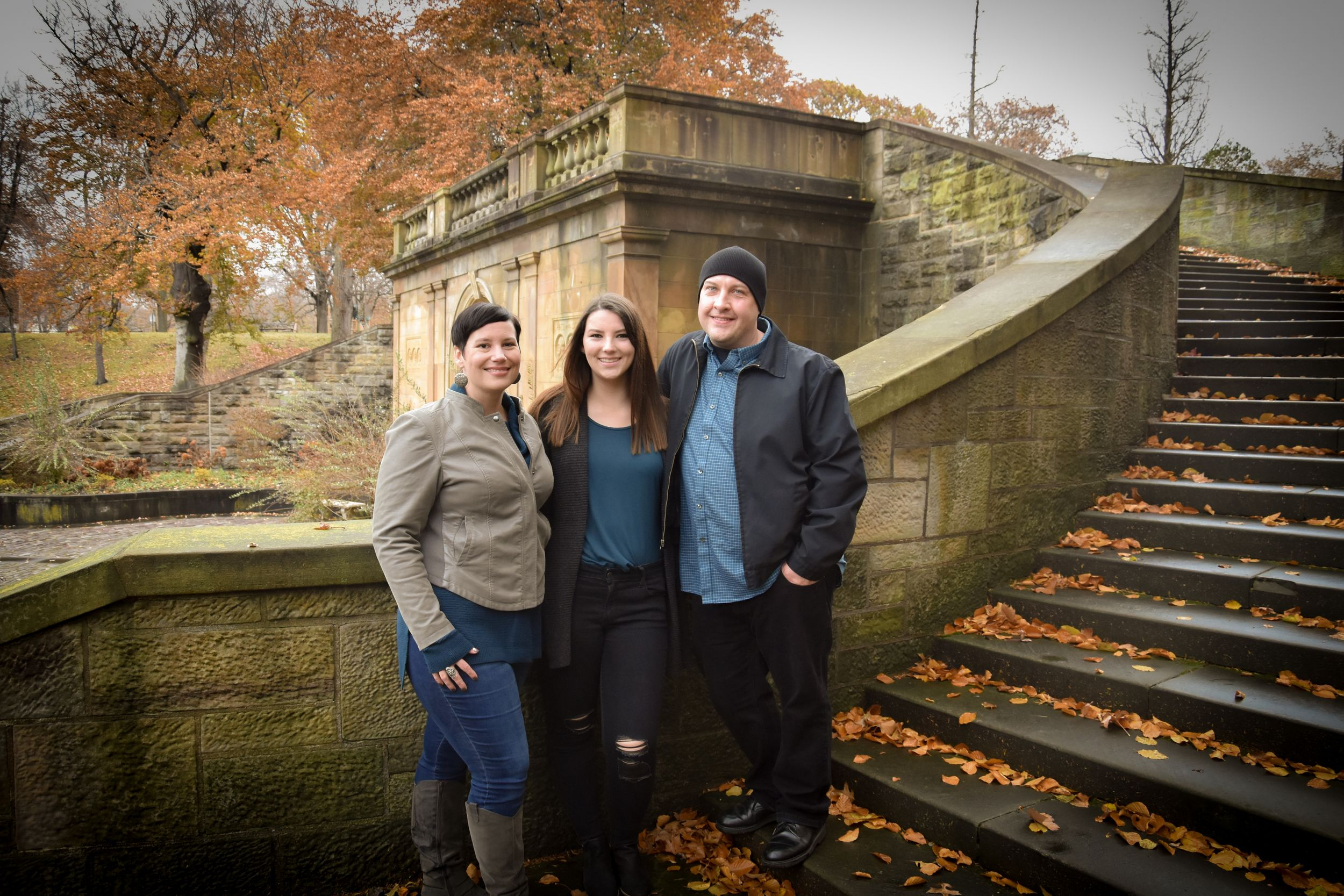 family in front of Italian Garden, Cleveland Cultural Gardens, Ohio