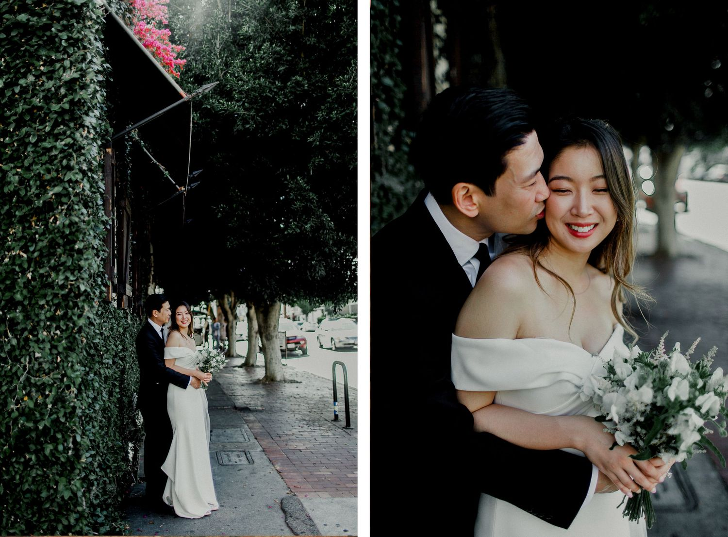 groom kissing bride standing on sidewalk in front of A.O.C. Los Angeles