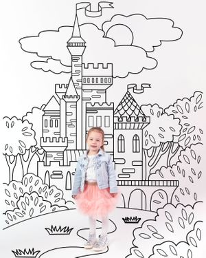 Little girl feels like a princess with the hand drawn fairy castle in the background of this doodle mini session