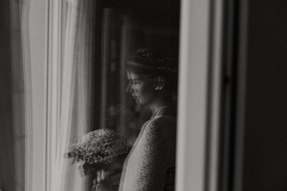 reflection of a bride in black and white portrait
