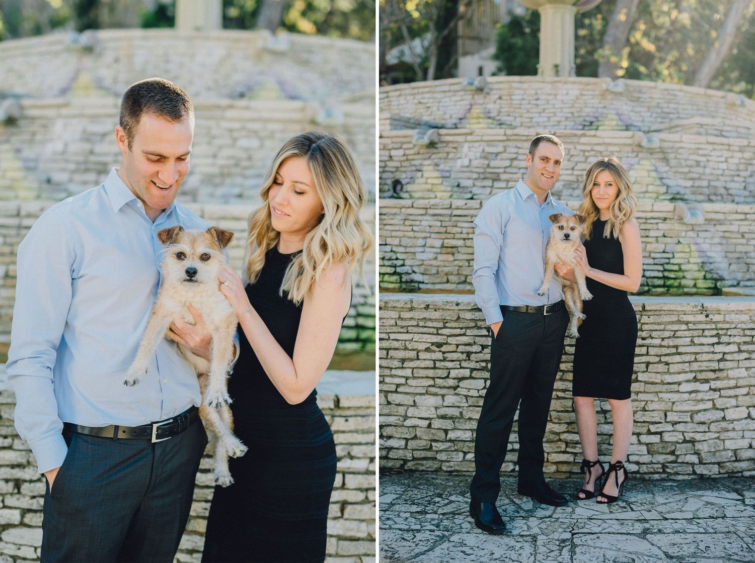 engaged couple wiht their dog