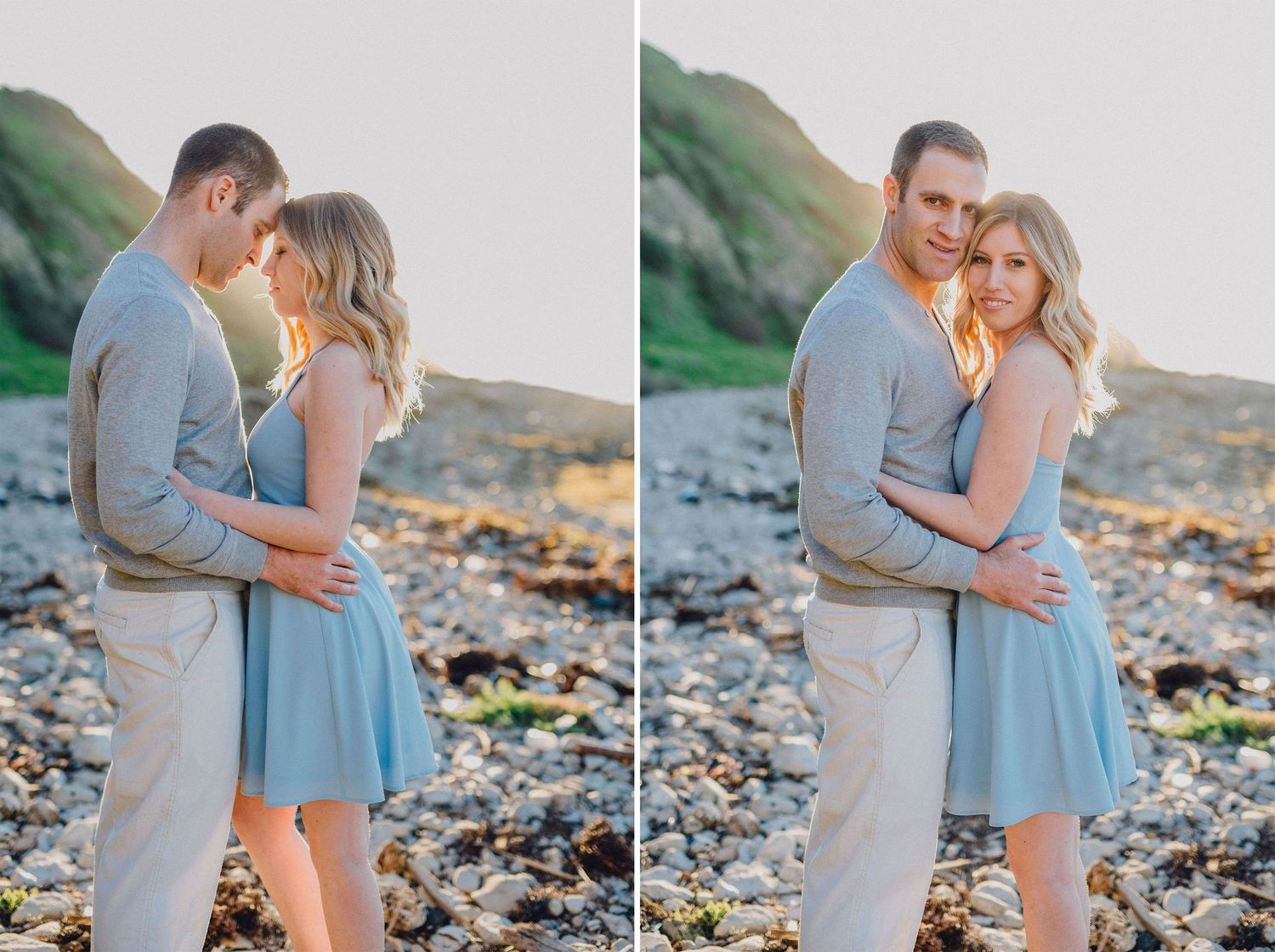palos verdes beach engagement photo