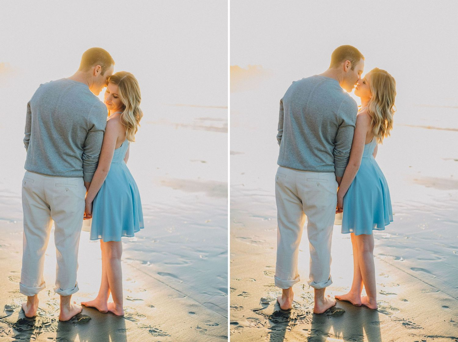 backlit beach engagement photo