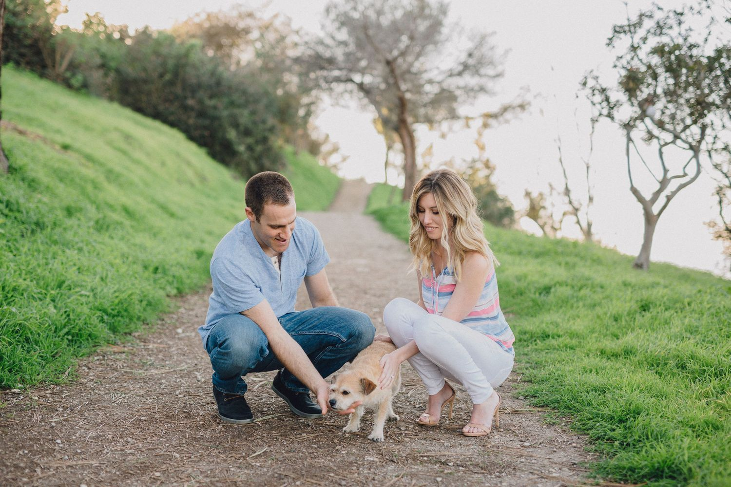 couple and dog engagement photo
