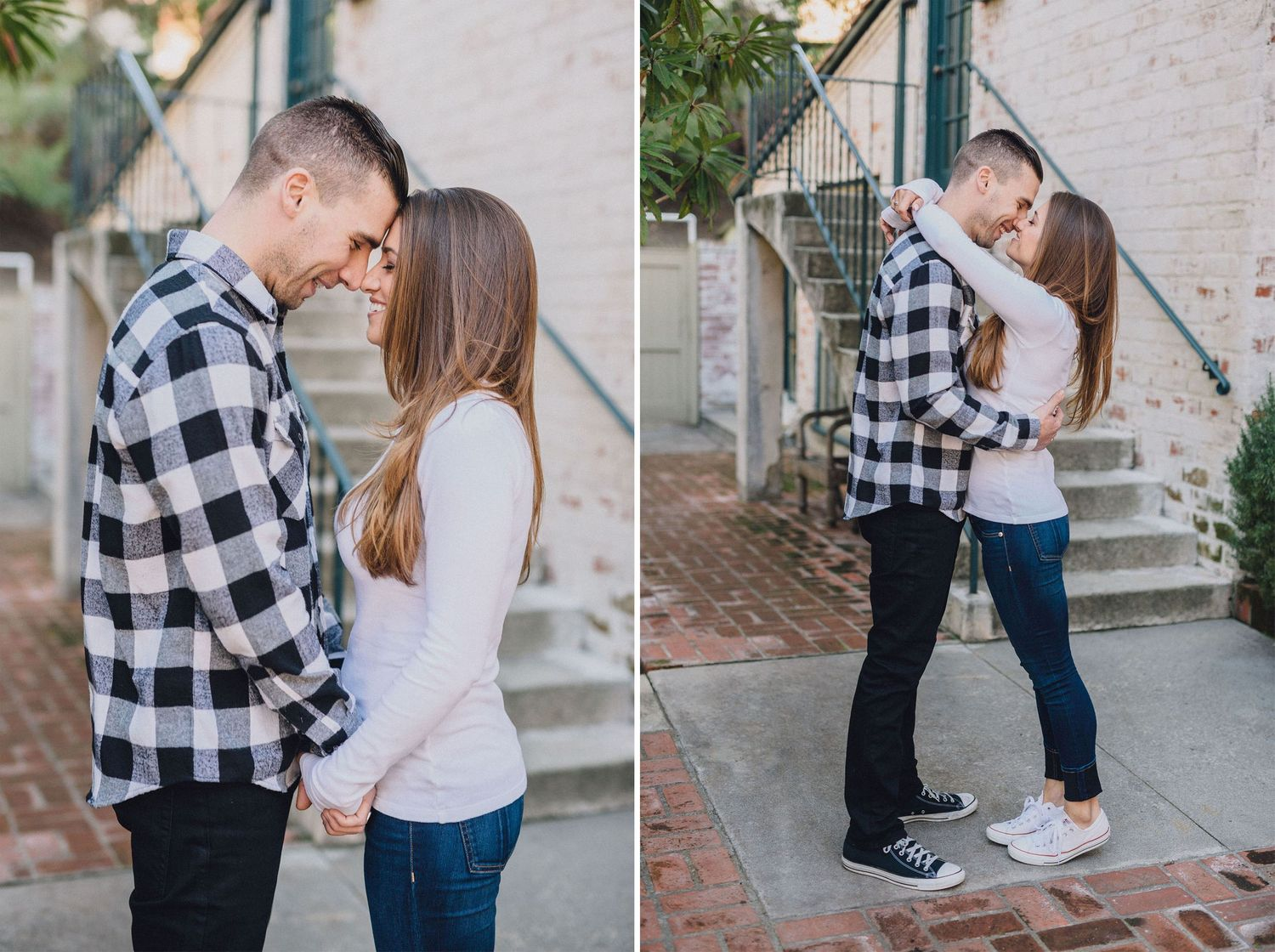 rustic architecture engagement photo