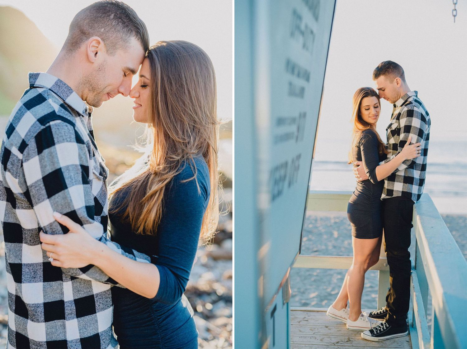 engagement photo on lifeguard tower at sunset