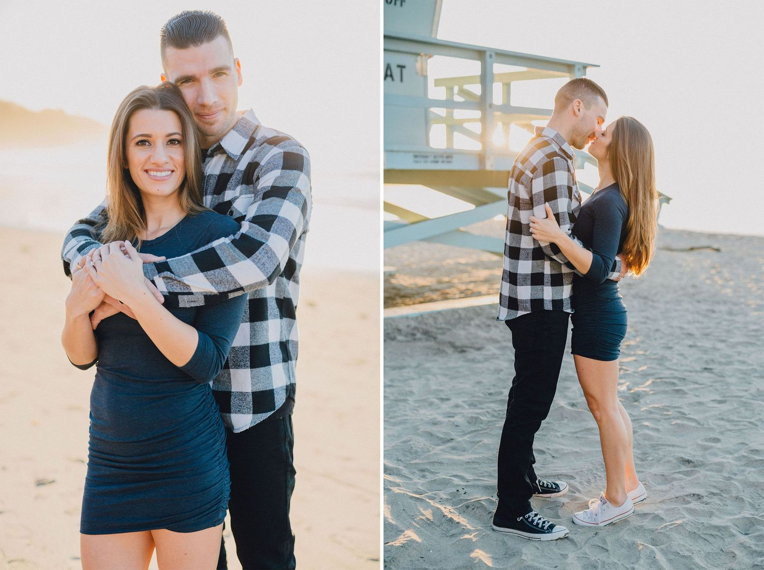 sunset engagement photo at beach