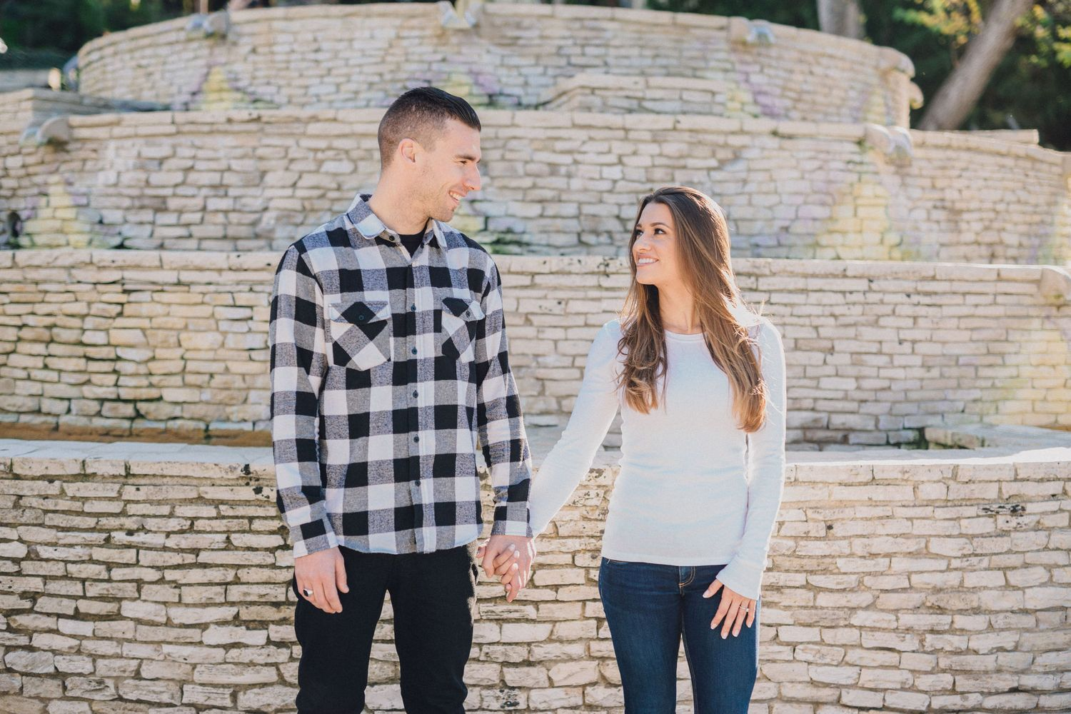 malaga cove fountain engagement photo