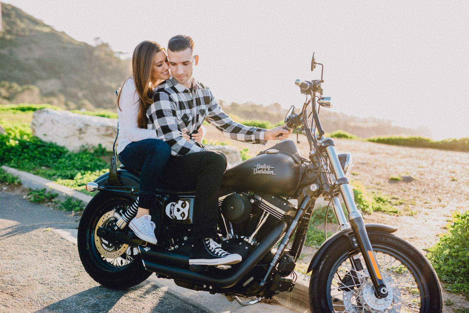 engagement photo on motorcycle