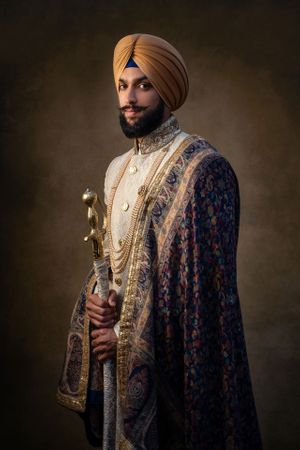 Sikh wedding groom looking like a King