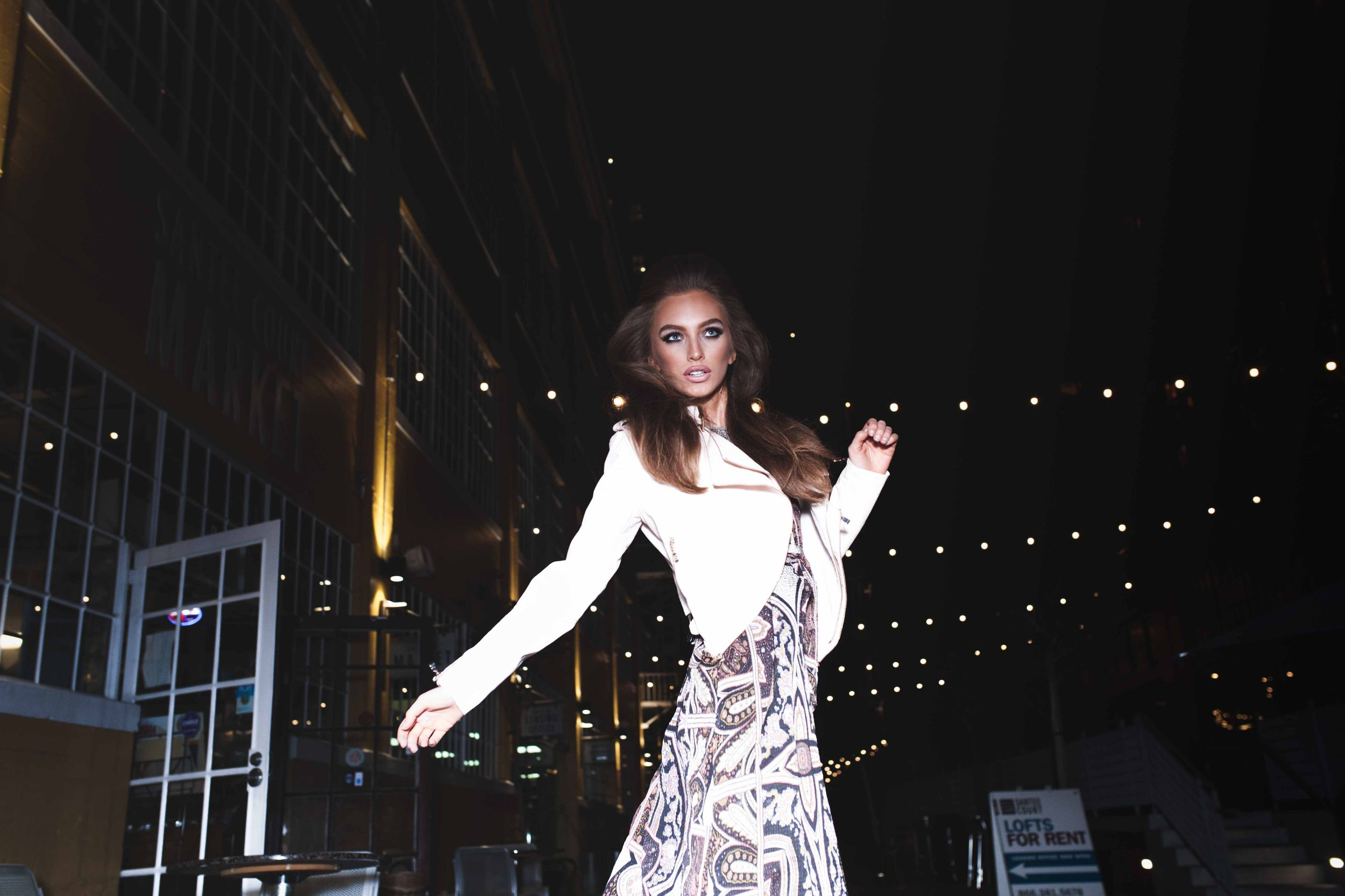 Model Crystal Van Commenee National A-List Magazine Editorial Los Angeles California Rockabilly String Lights Long Dress