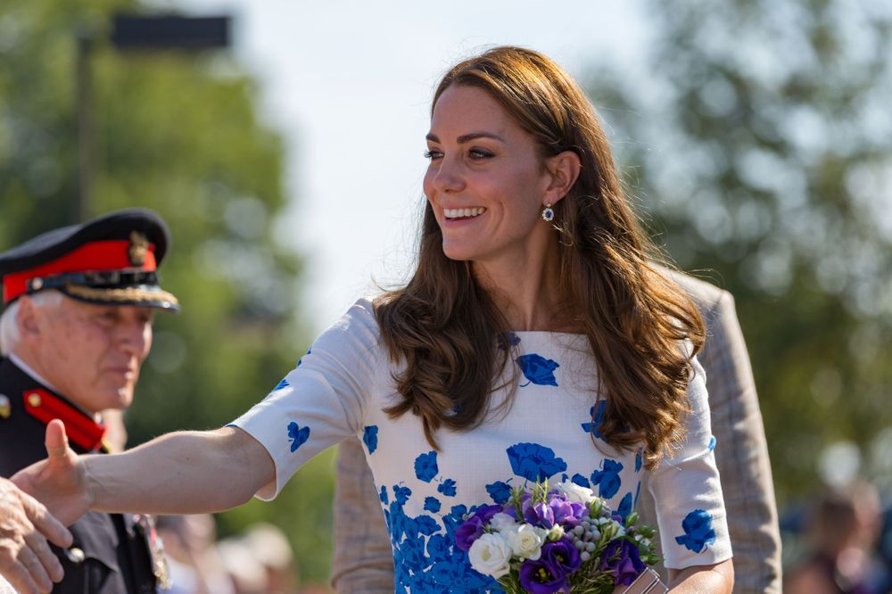 The Duchess of Cambridge, Catherine Middleton shakes hands with well wishers during a royal visit to Keech Hospice Care
