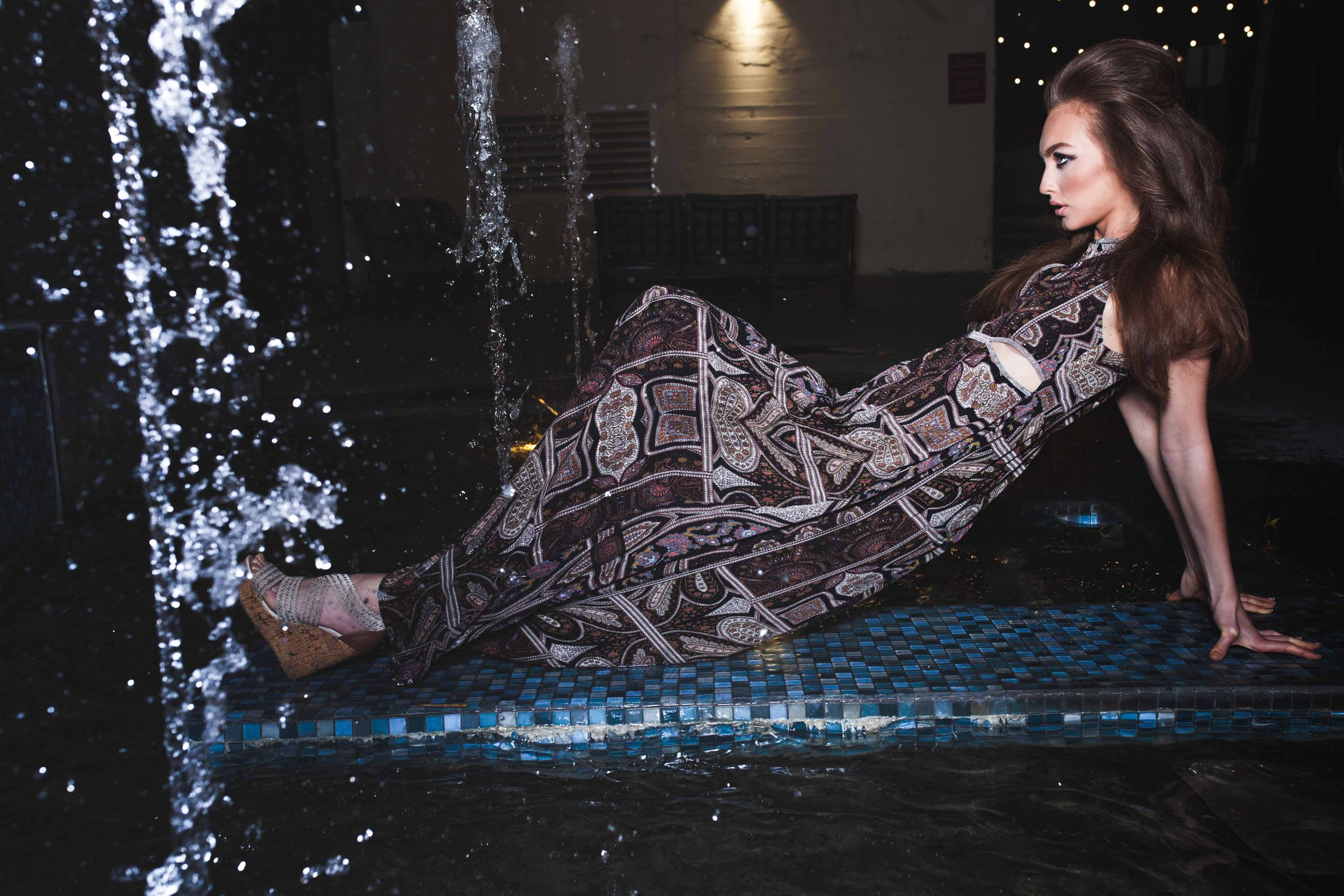 Model Crystal Van Commenee National A-List Magazine Editorial Los Angeles Rockabilly Laying in Water Fountain Long Dress