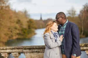 couple loved up at clumber park bridge