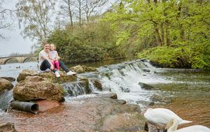 family photos at Clumber park waterfall