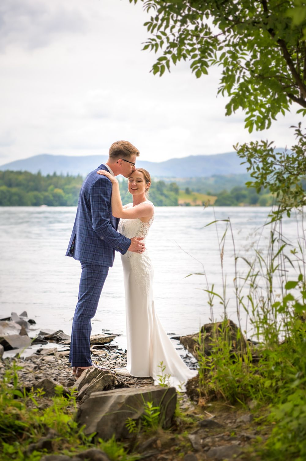 Bride and groom portrait at Windermere