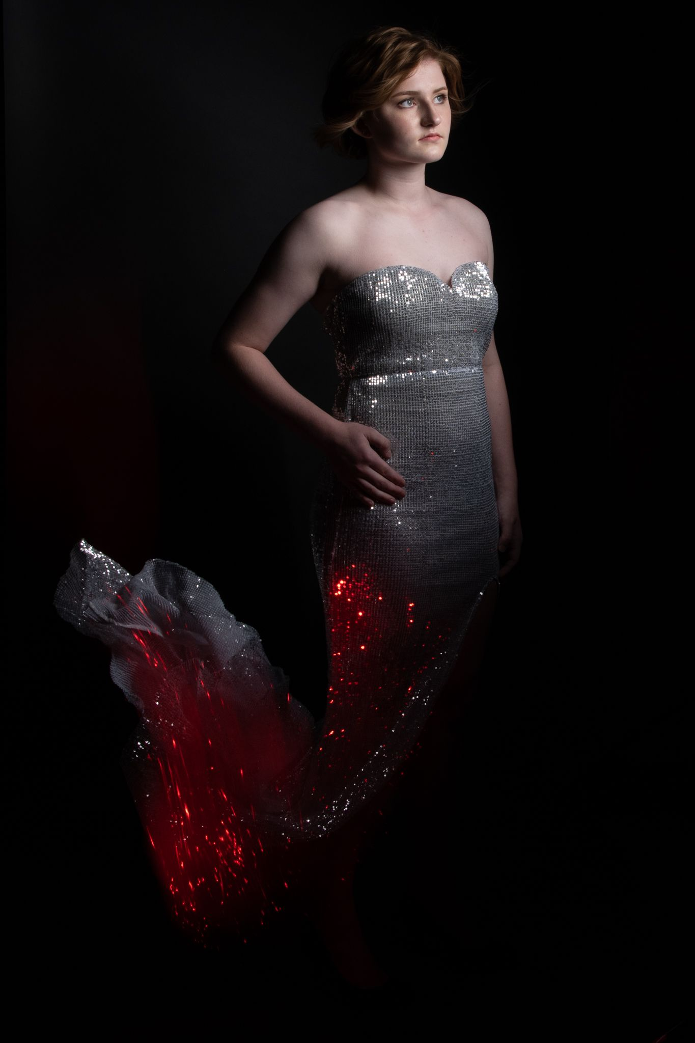 Dress on fire, studio shot , senior pictures