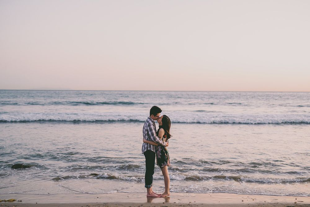 malibu beach engagement photo