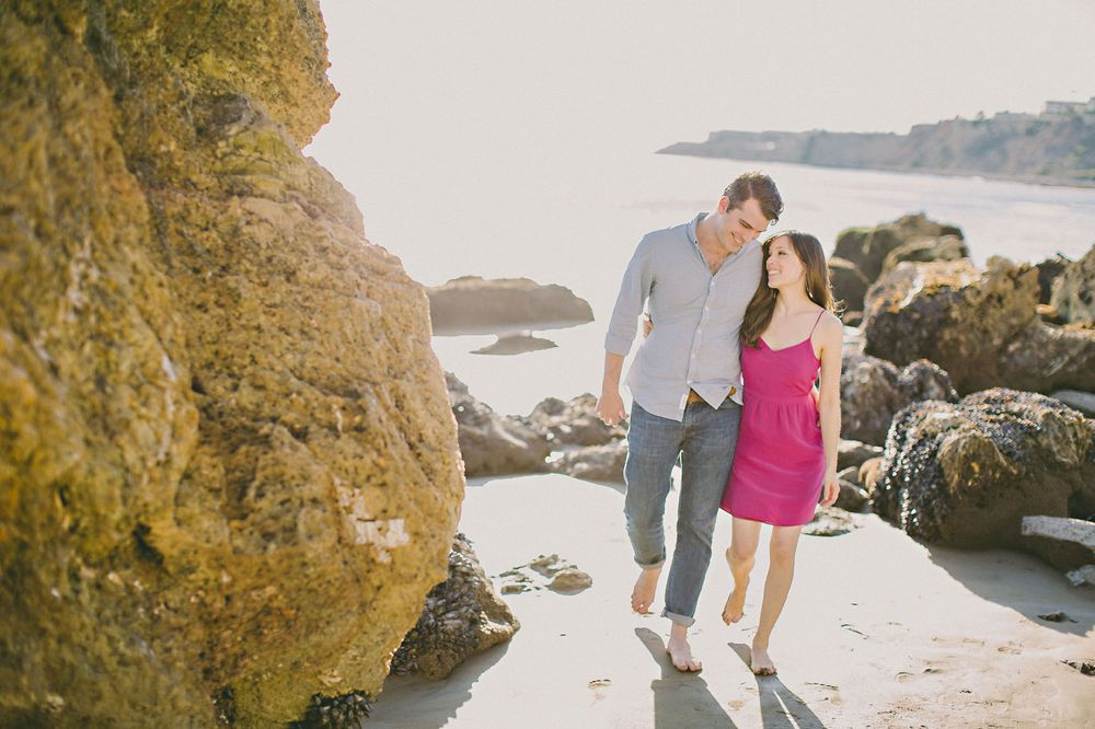 walking on beach engagement