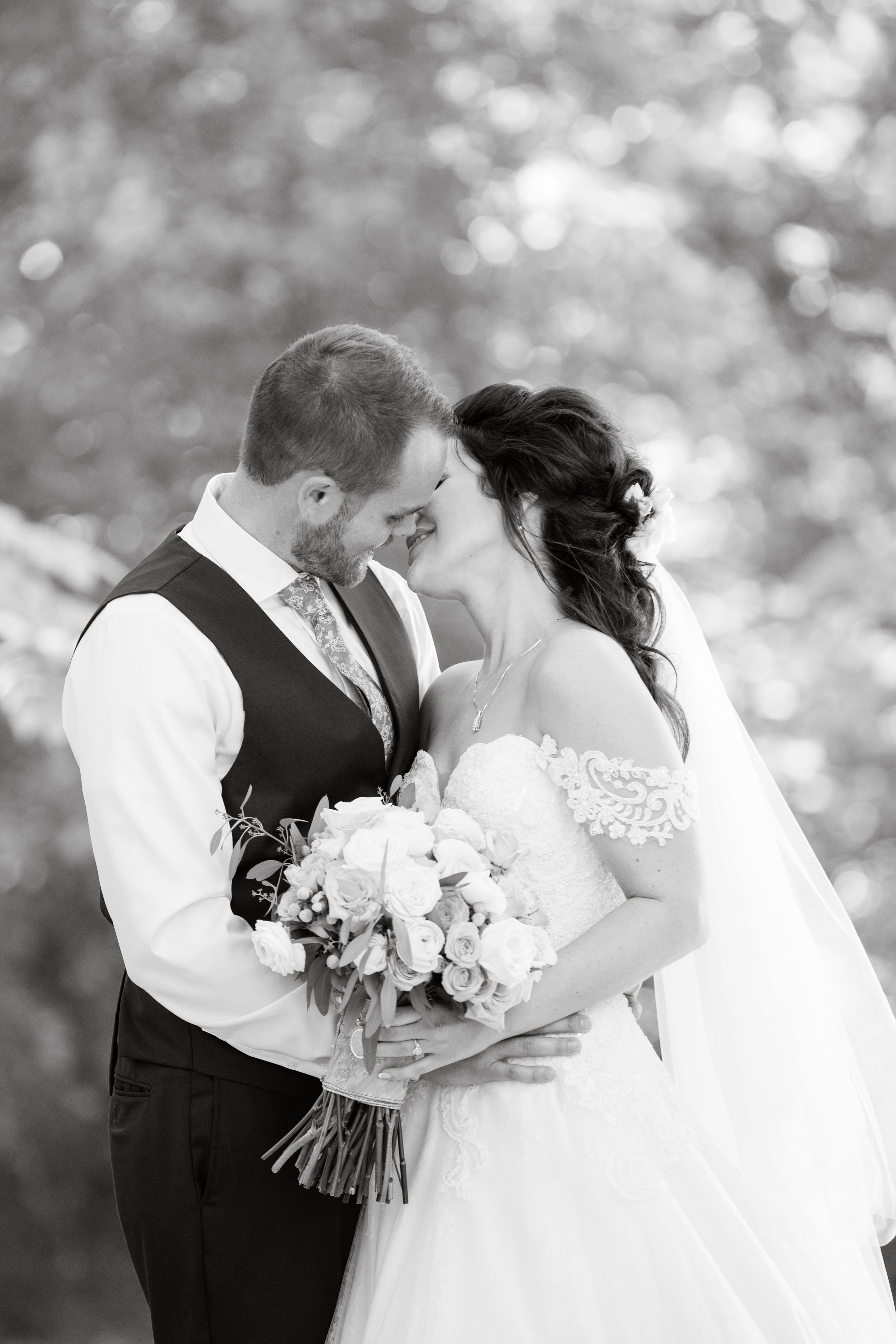 bride and groom portrait black and white michigan wedding photographer