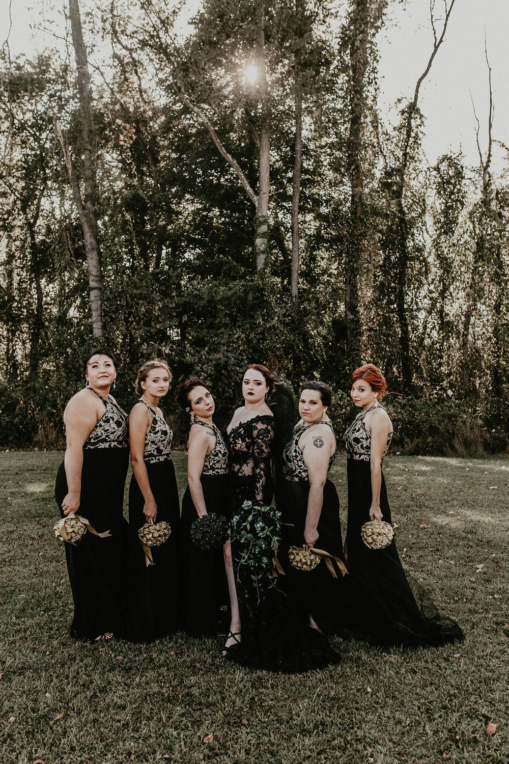 black wedding dress, dark and moody, bridesmaids