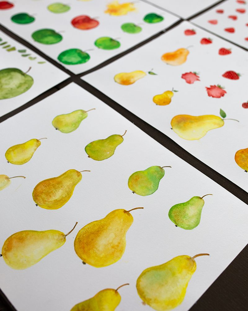 Watercolor elements - fruits