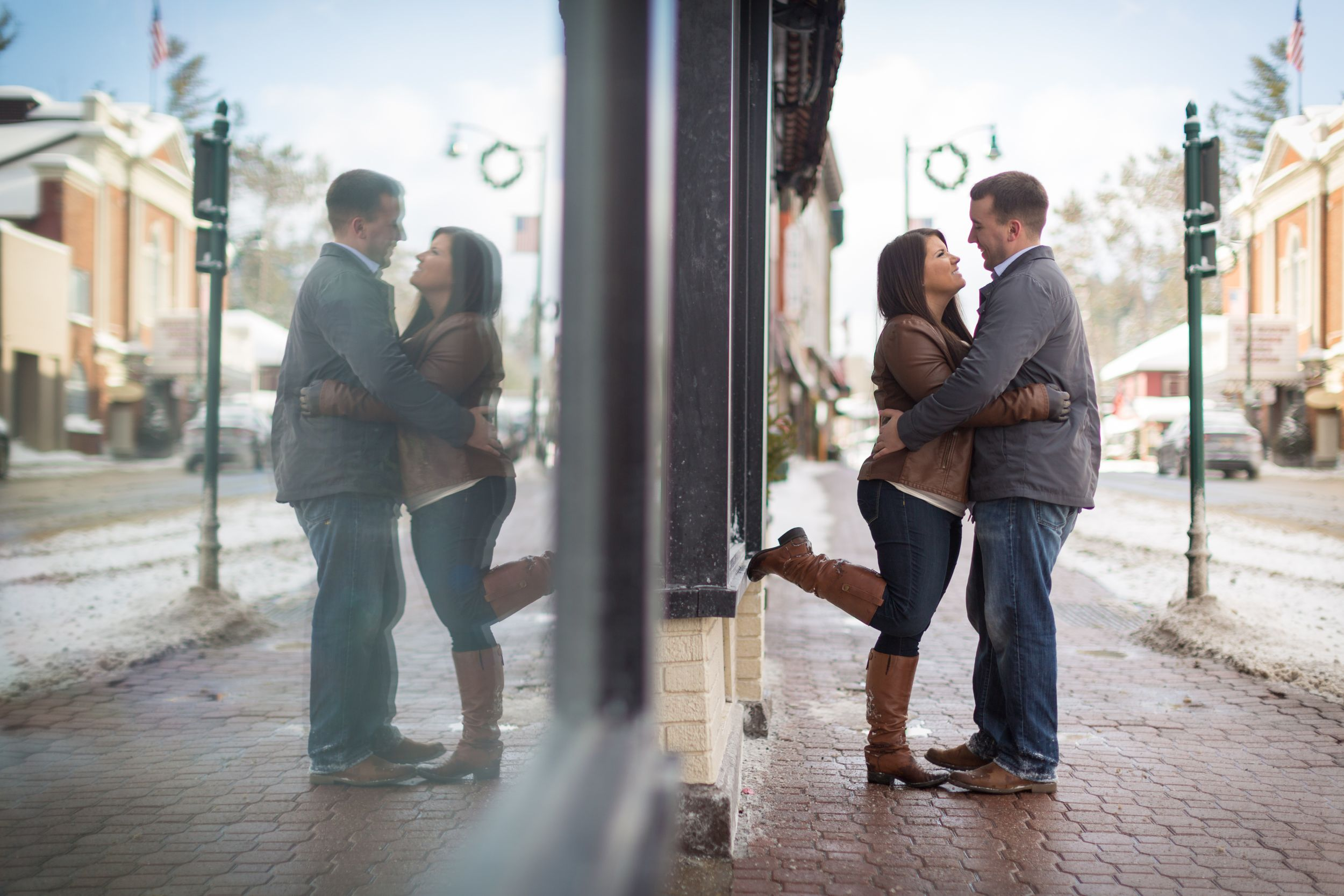 Engagement Photography at Main Street Lake Placid Lodge NY