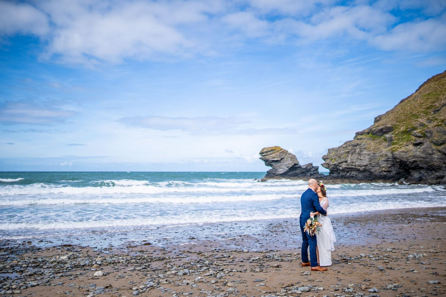 Wedding couple at Llangranog beach