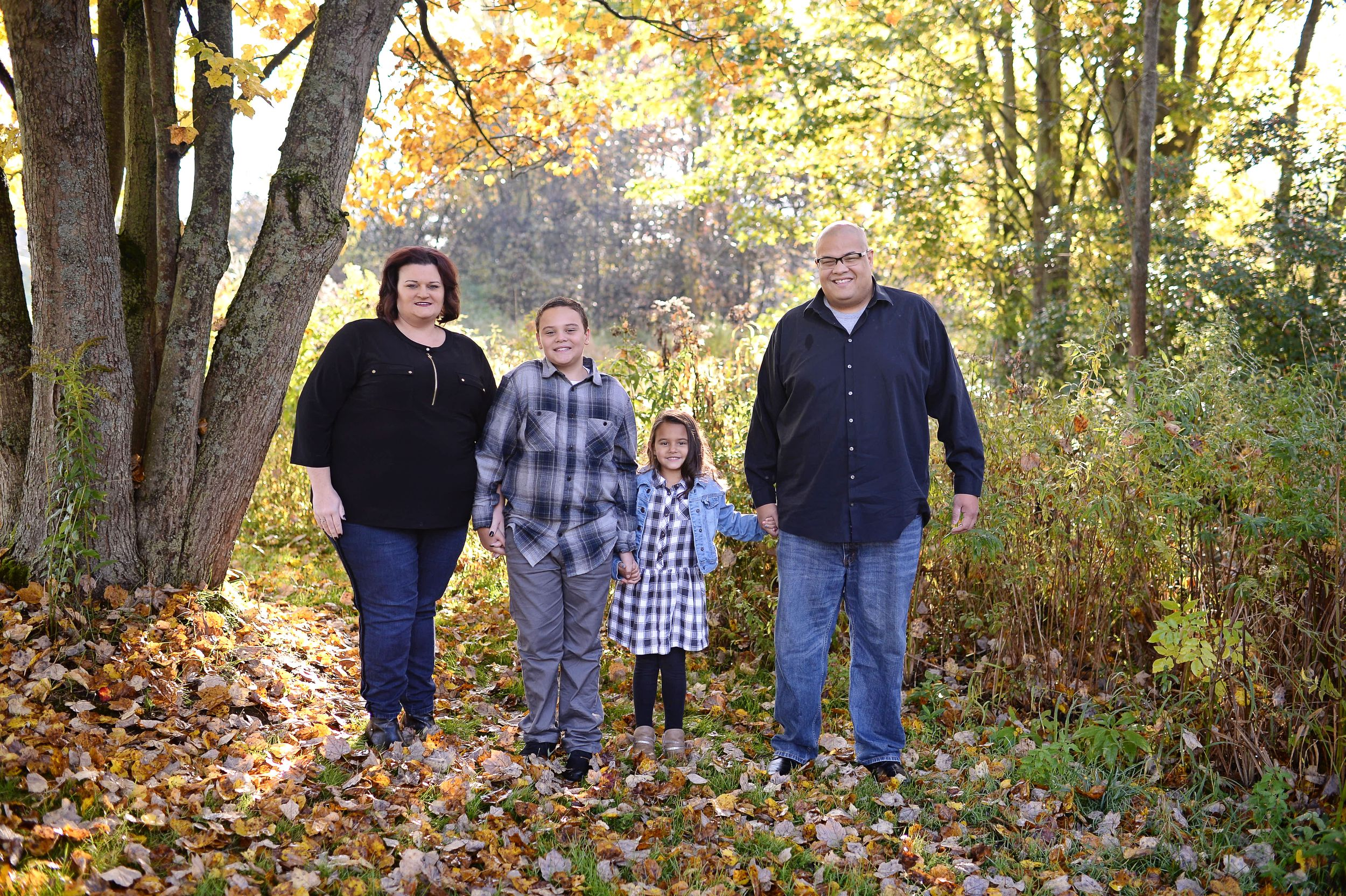 family of four fall portrait