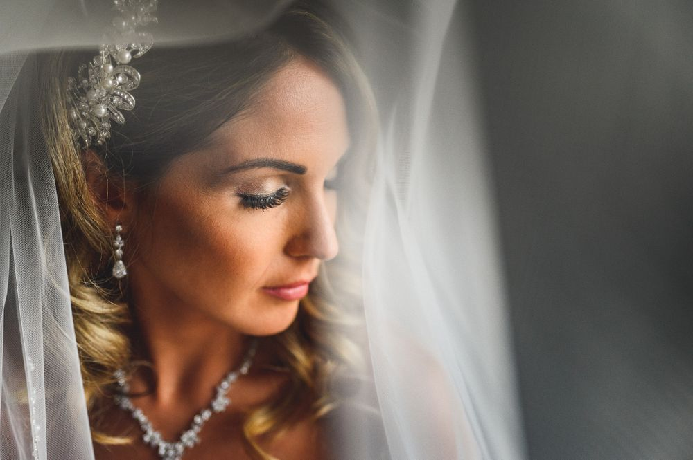 bridal portrait near window at Homewood suites Rockaway dover