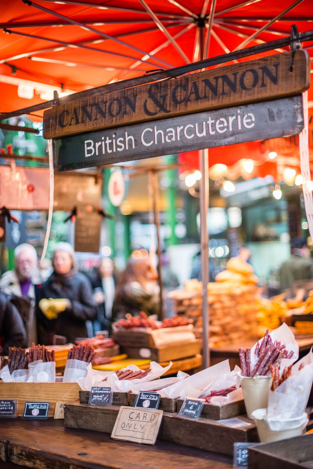 British Charcuterie display at Borough Market, London