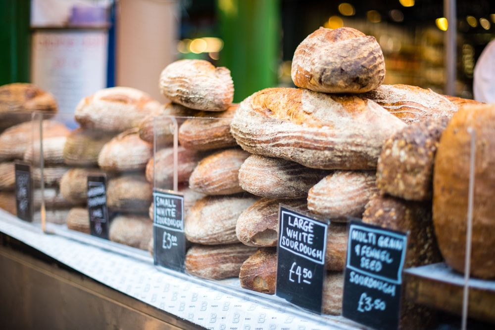 Bread display at Borough Market, London