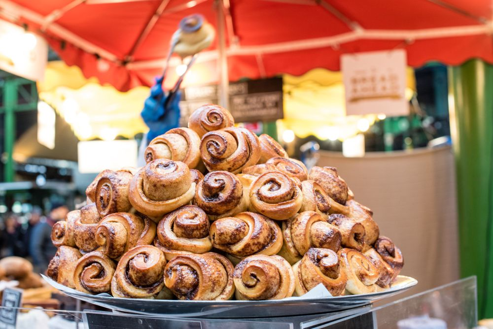 Cinnamon bun display at Borough Market, London