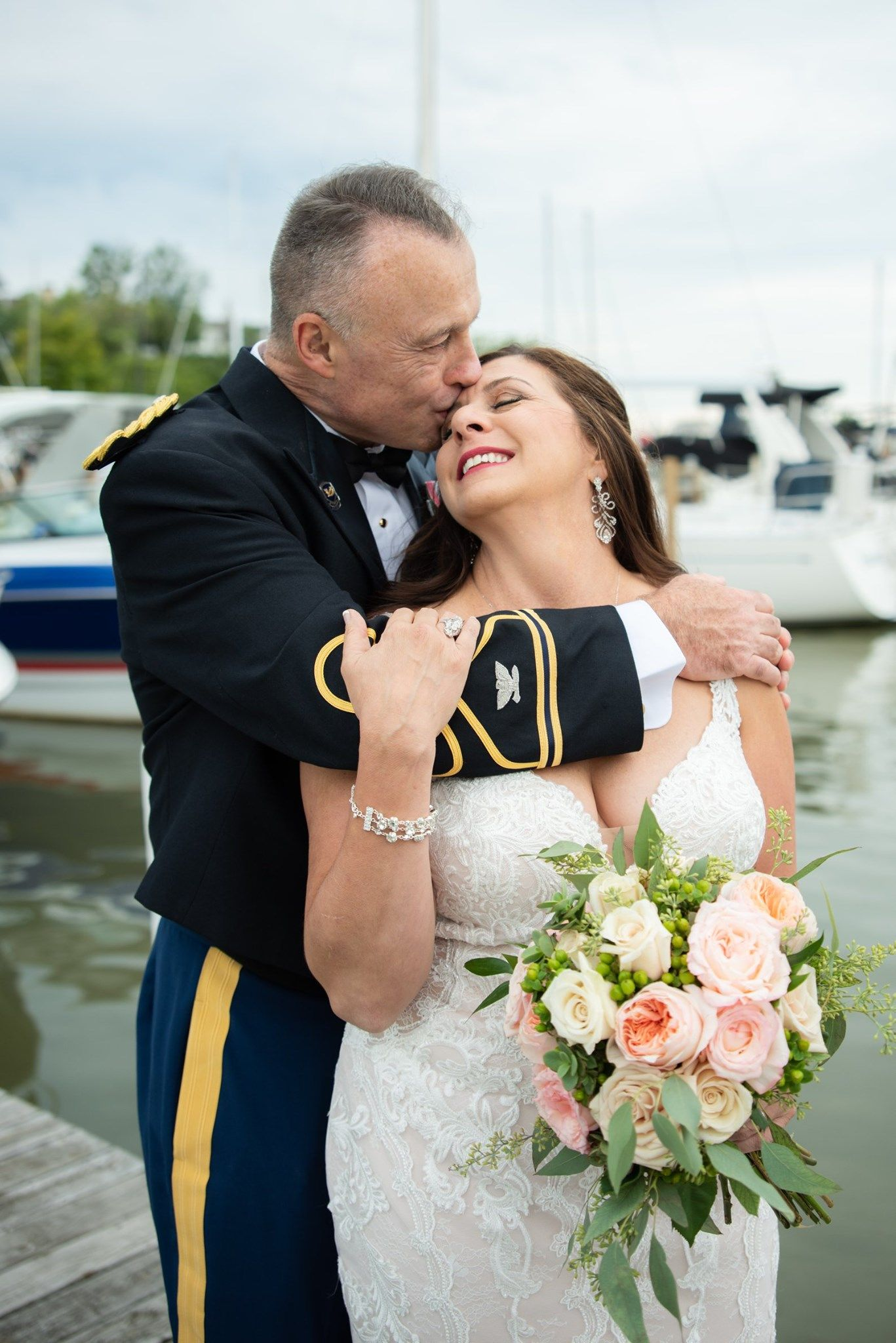 bride and groom at outdoor wedding, Cleveland Yachting Club, Ohio