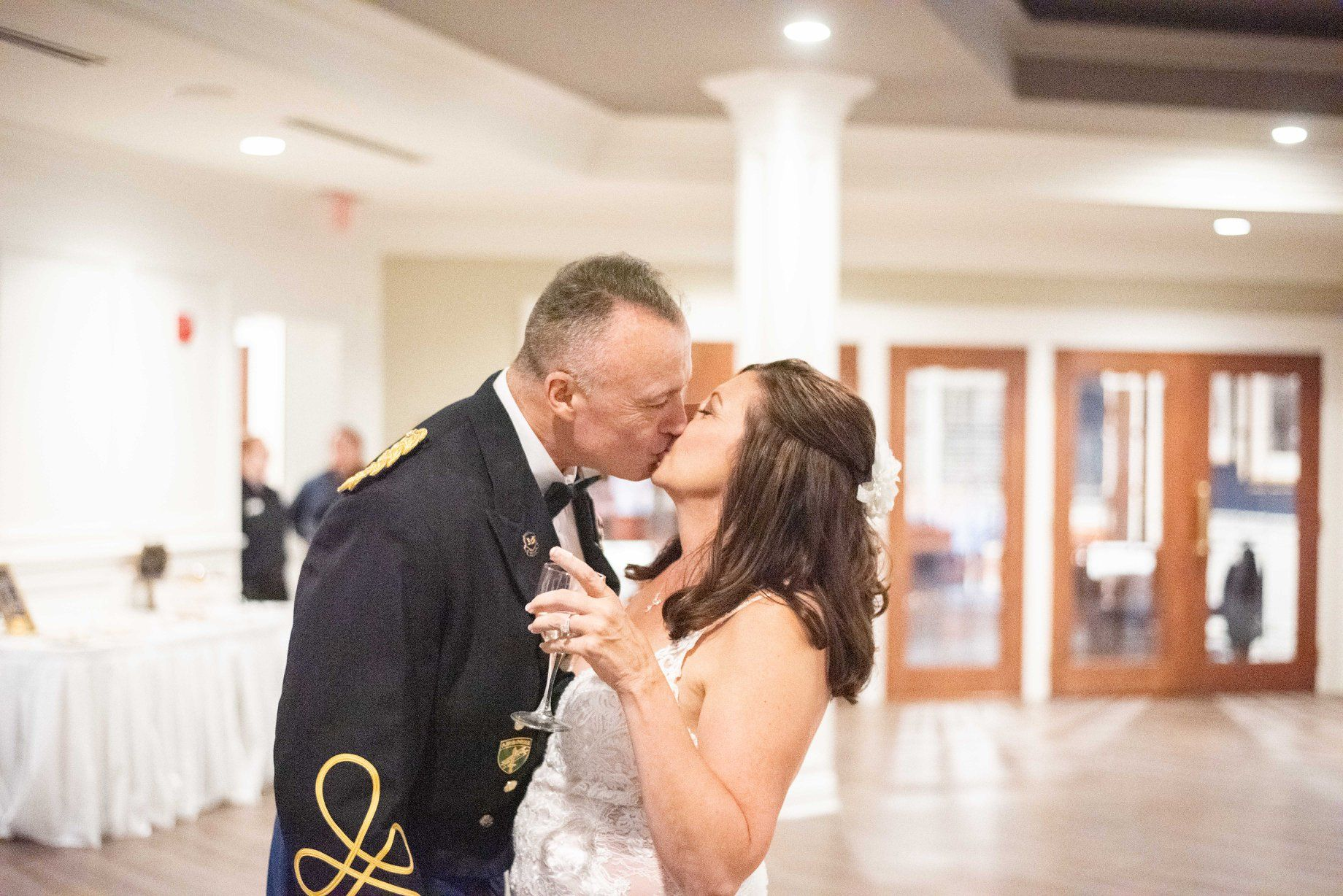 reception couple kiss at  Cleveland Yachting Club, Ohio